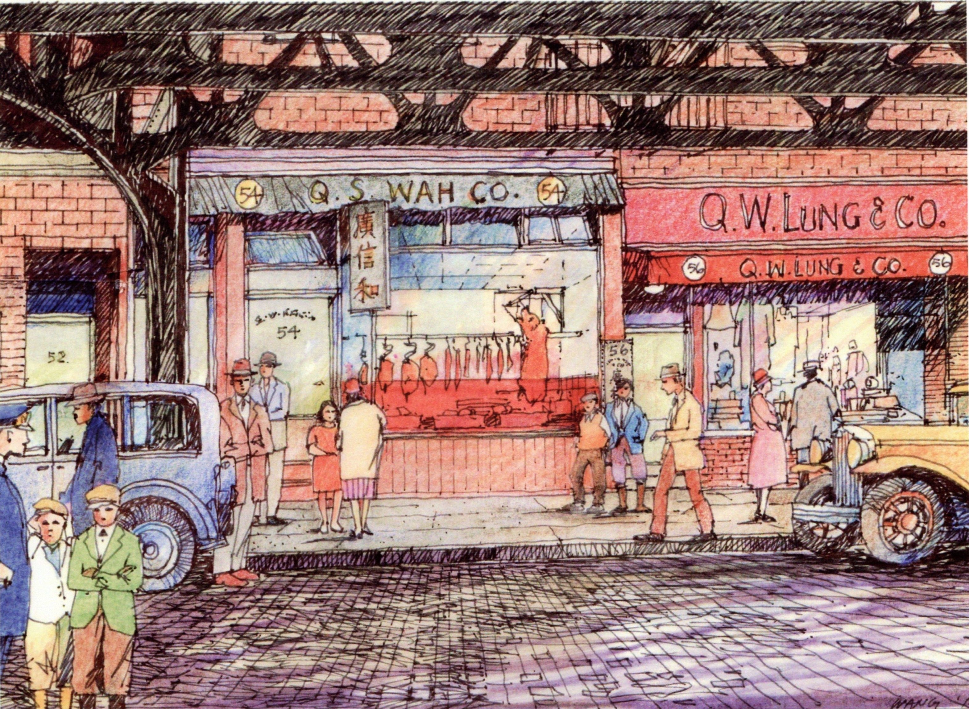 Ink drawing of a busy Beach Street in downtown Boston