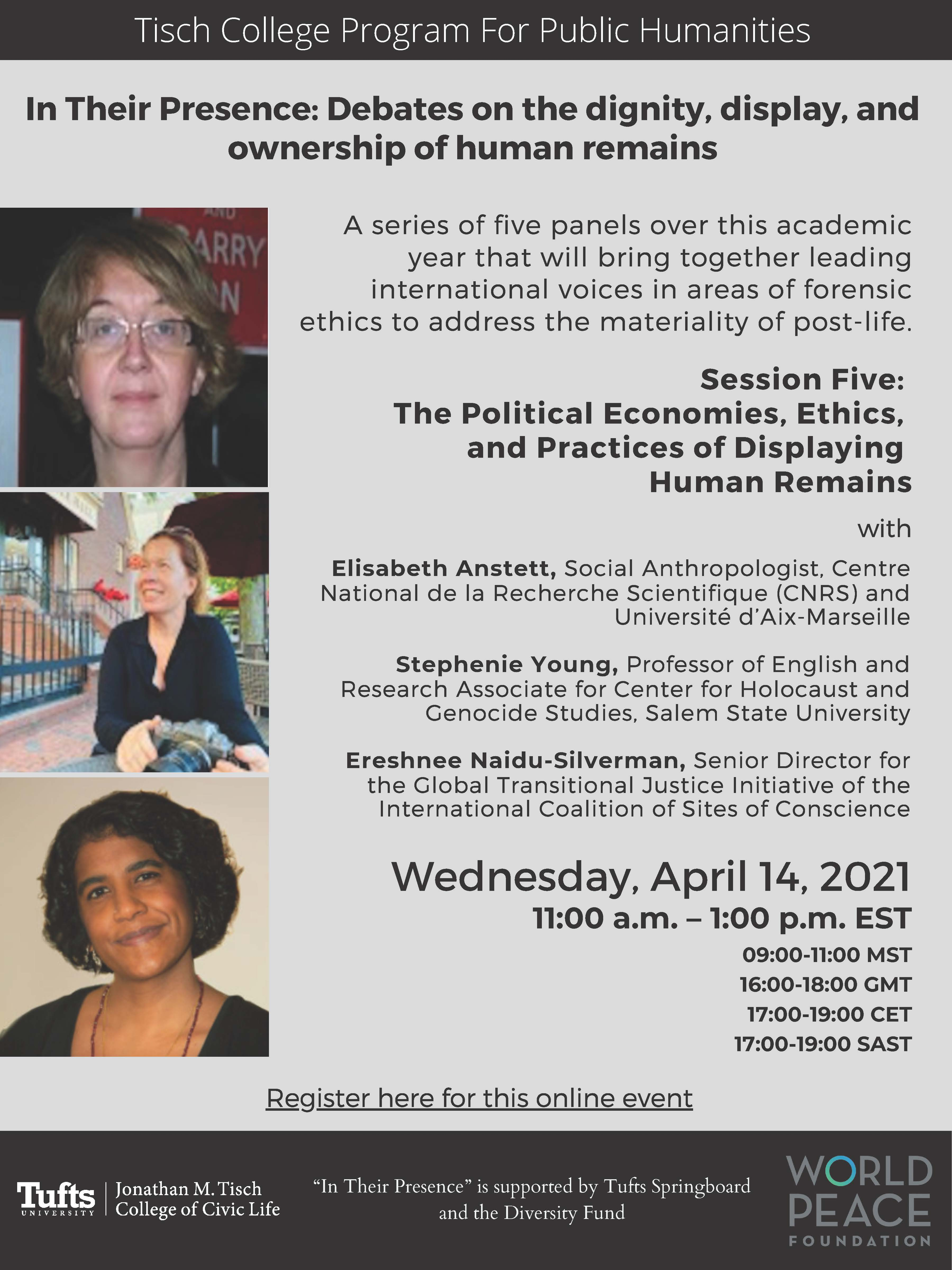 Event flyer with three photographs of people's faces