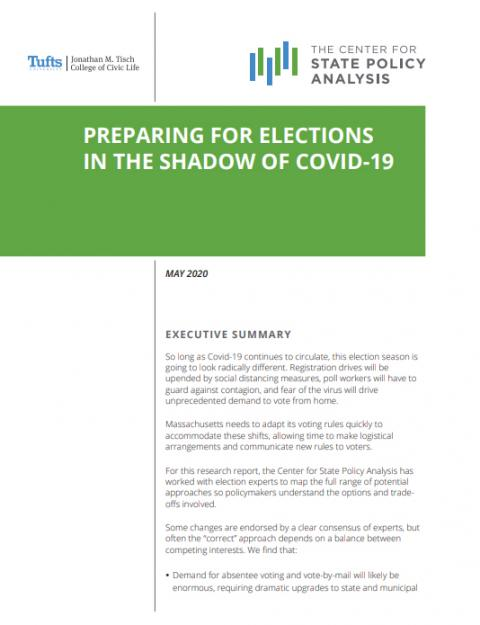 Cover of cSPA report on elections during the pandemic