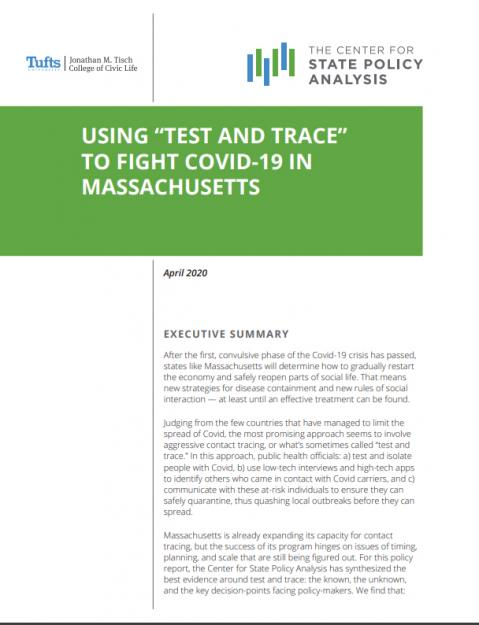 Cover for report on Test and trace in Massachusetts