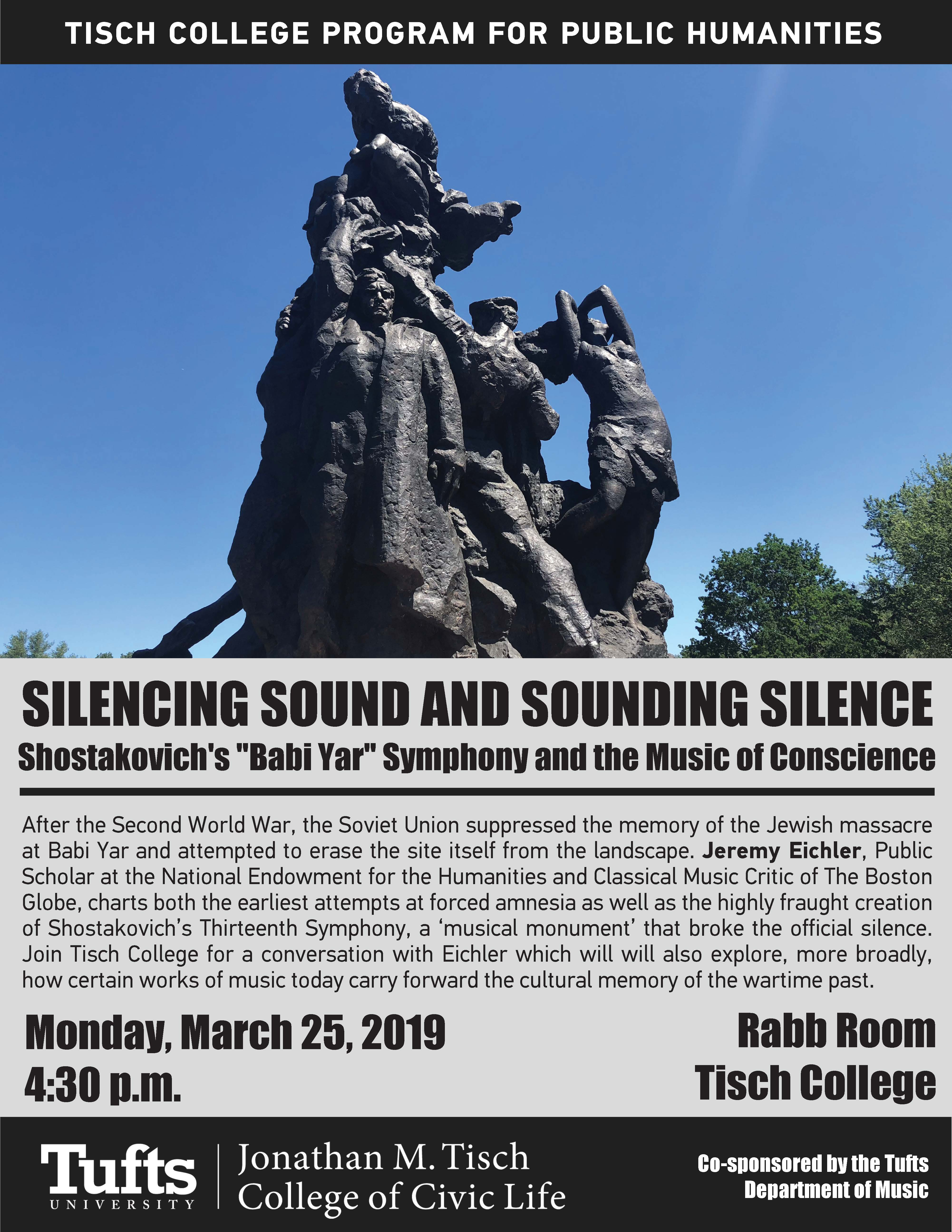 Flyer for Humanities event with Jeremy Eichler