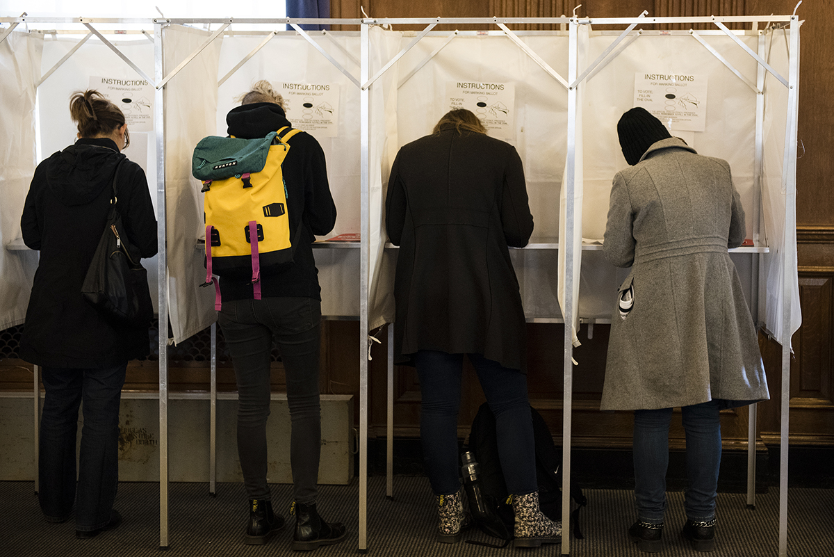Students line up at voting booths in the 2016 election