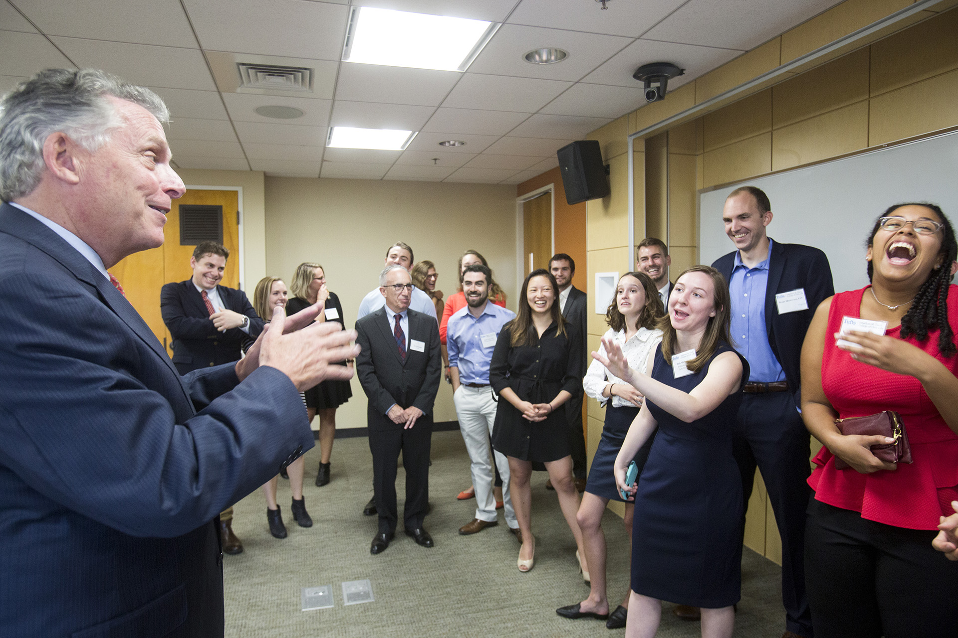 Terry McAuliffe talks with Tufts students