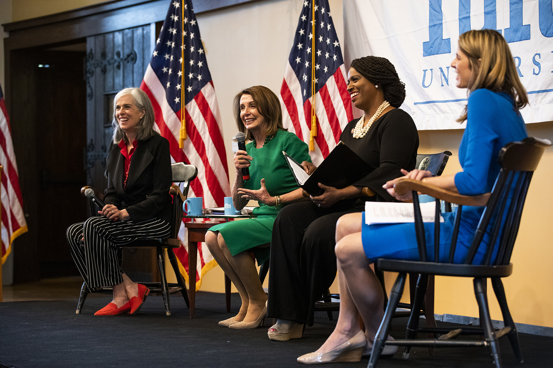 House Speaker Nancy Pelosi and Congresswomen Katherine Clark, Ayanna Pressley, and Lori Trahan speaking at Tufts