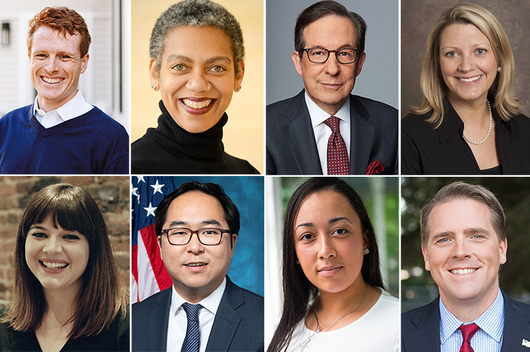 Collage of headshots of Spring 2020 Tisch College speakers