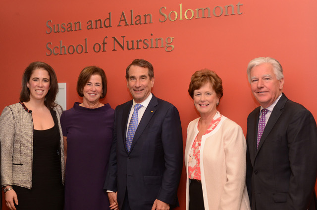 Becca Solomont, Susan Solomont, Alan Solomont, UMass Lowell Chancellor Jacquie Moloney and UMass President Marty Meehan