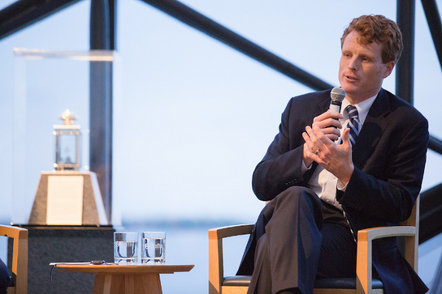 Joe Kennedy III at a talk with Alan Solomont at the JFK Library