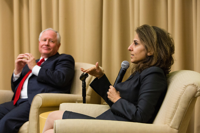 Bill Kristol and Neera Tanden at a Distinguished Speaker Series debate