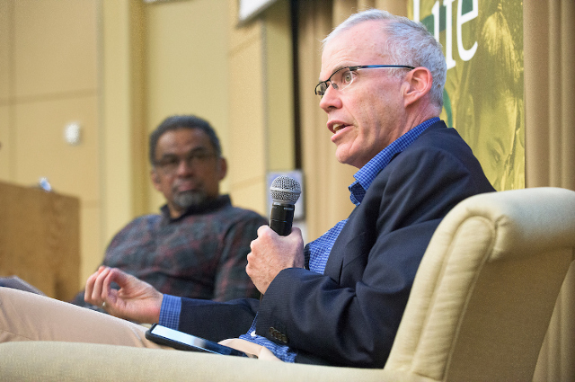 Bill McKibben and Julian Agyeman speaking at Tufts