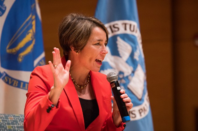 Maura Healey speaking at Tufts