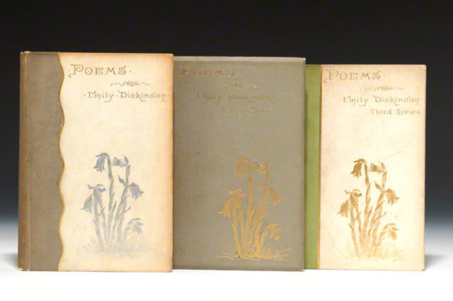 three first editions of Emily Dickinson's poetry