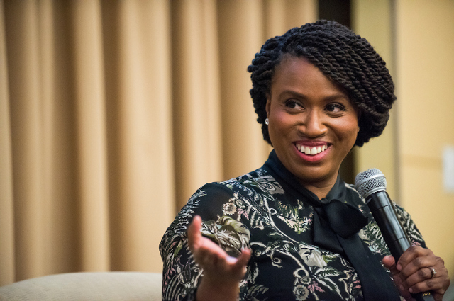 Ayanna Pressley speaking at Tufts
