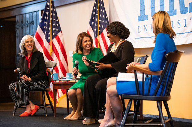 Katherine Clark, Nancy Pelosi, Ayanna Pressley, and Lori Trahan speaking at Tufts