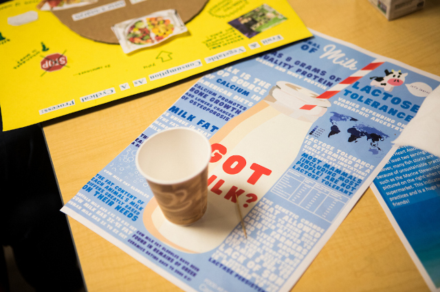 A placemat by Camille Shimshak, A21, about the nutritional value of milk—as well as patterns of lactose intolerance around the world—topped with a cup of rice milk. A placemat by Lauren Diaz, A20, in the background.