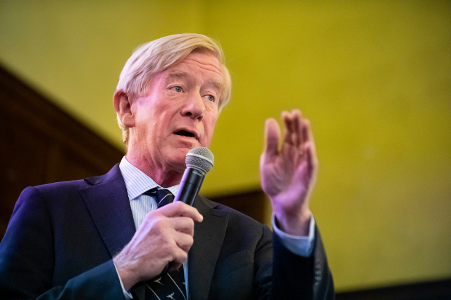 A man speaking into a microphone. There needs to be a conservative alternative to Trump, says presidential candidate and former Massachusetts governor Bill Weld in a Tufts podcast.