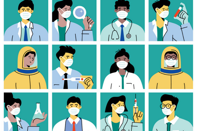 Illustration with grid of nine health-care workers. A supply firm CEO, a medical apparel manufacturer, and a cathedral administrator step up to address critical shortages.