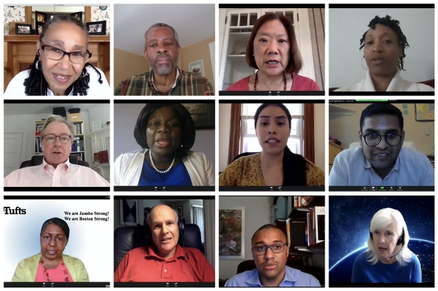 A Zoom screen with a grid of 12 people. Tufts observes Juneteenth with day of reflection, commitment, and action, and announces initiatives to address racism and give greater support for diversity