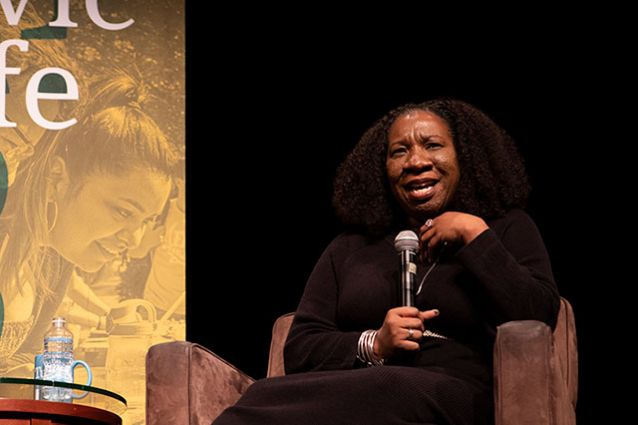 Tisch College's Distinguished Speaker Series—which has previously brought to campus leading figures like Tarana Burke (pictured), Ayanna Pressley, and the late John Lewis, will explicitly address issues of racial justice this fall. Photo: Alonso Nichols