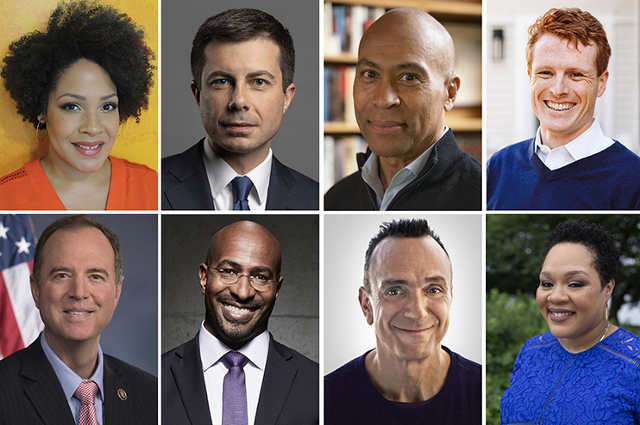 Grid of photos of speakers. Tisch College virtual speakers in fall 2020 include former presidential candidates, activists, members of Congress, academics, diplomats, political strategists