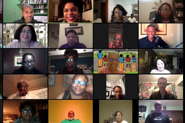 A Zoom screen with a number of participants. Tufts is offering a free, online Black Futures Matter civic humanities certificate course is aimed at adult learners in Mississippi, Georgia, and Alabama