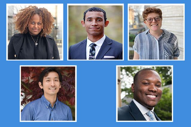 Five of the recipients of the 2021 Tufts Presidential Award for Civic Life