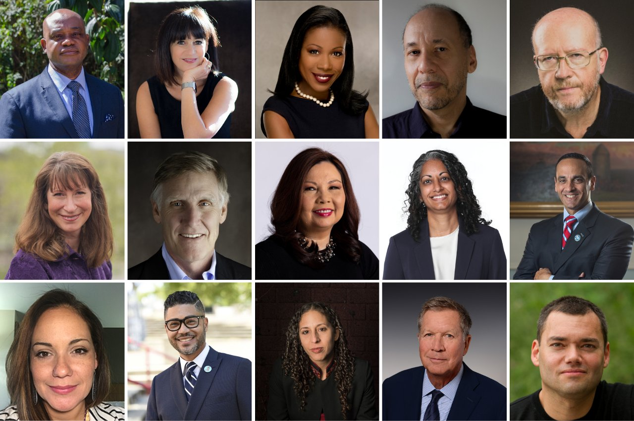Grid of 15 faces. Tisch College at Tufts announces its virtual events for fall 2021, with a diverse array of speakers include politicians, journalists, authors, and innovators