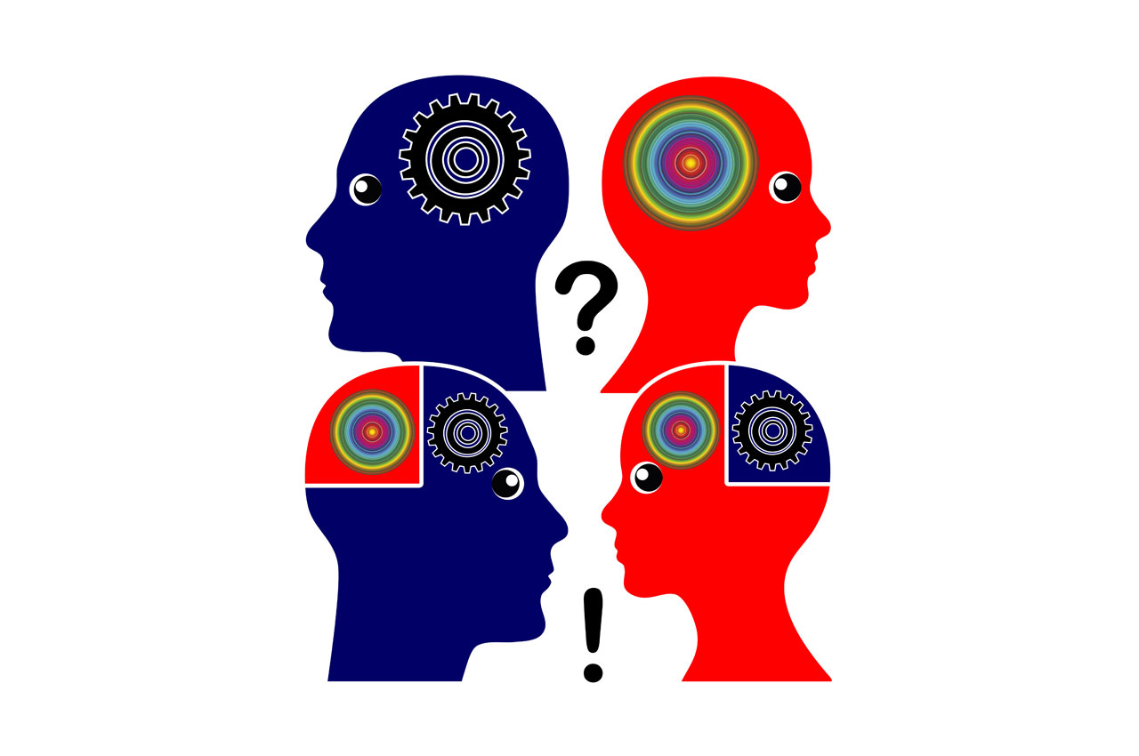 An illustration that depicts the joining of people's brains focused on reason, and those focused on emotion.