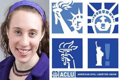 Tufts alumna Allie Bohm and ACLU logo