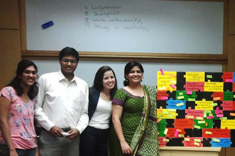 Tufts alumna Kayt Norris with Teach for India staff