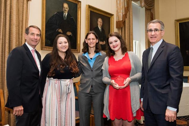 Presidential Award recipient Bethany Kirby with nominators, Tisch College Dean, and Tufts President Monaco.