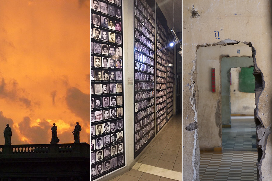 Triptych of photos of museums that exhibit remains of people killed in genocides